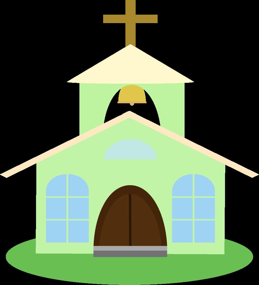 緑色の教会のイラスト