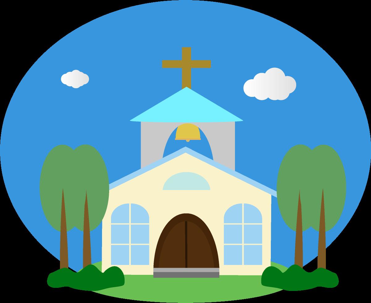 青空と雲と教会のイラスト