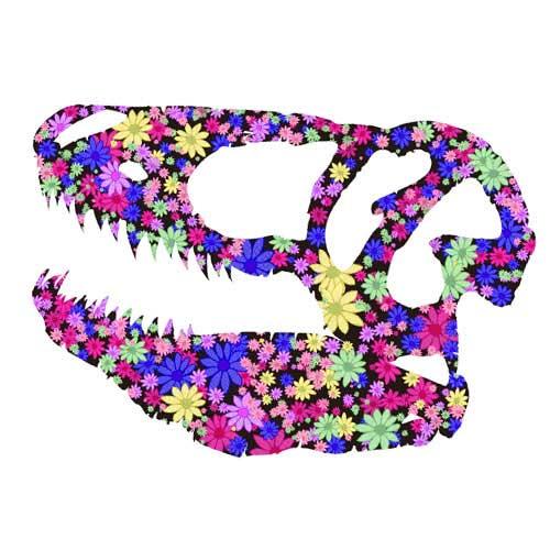 花柄の恐竜Tシャツ