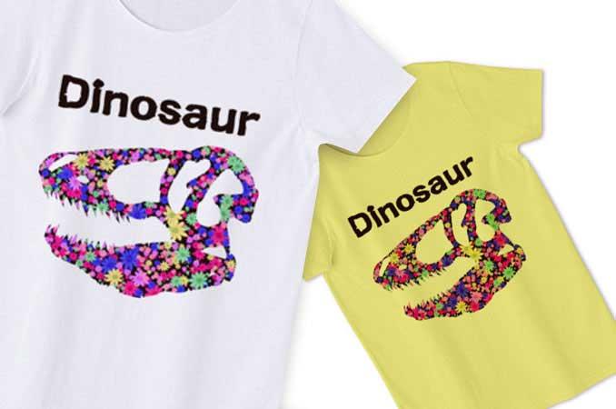 花柄恐竜Tシャツ