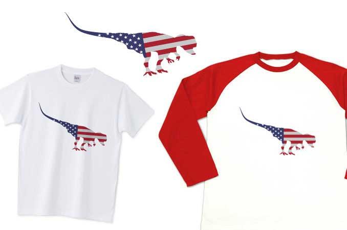 アメリカ国旗恐竜Tシャツ