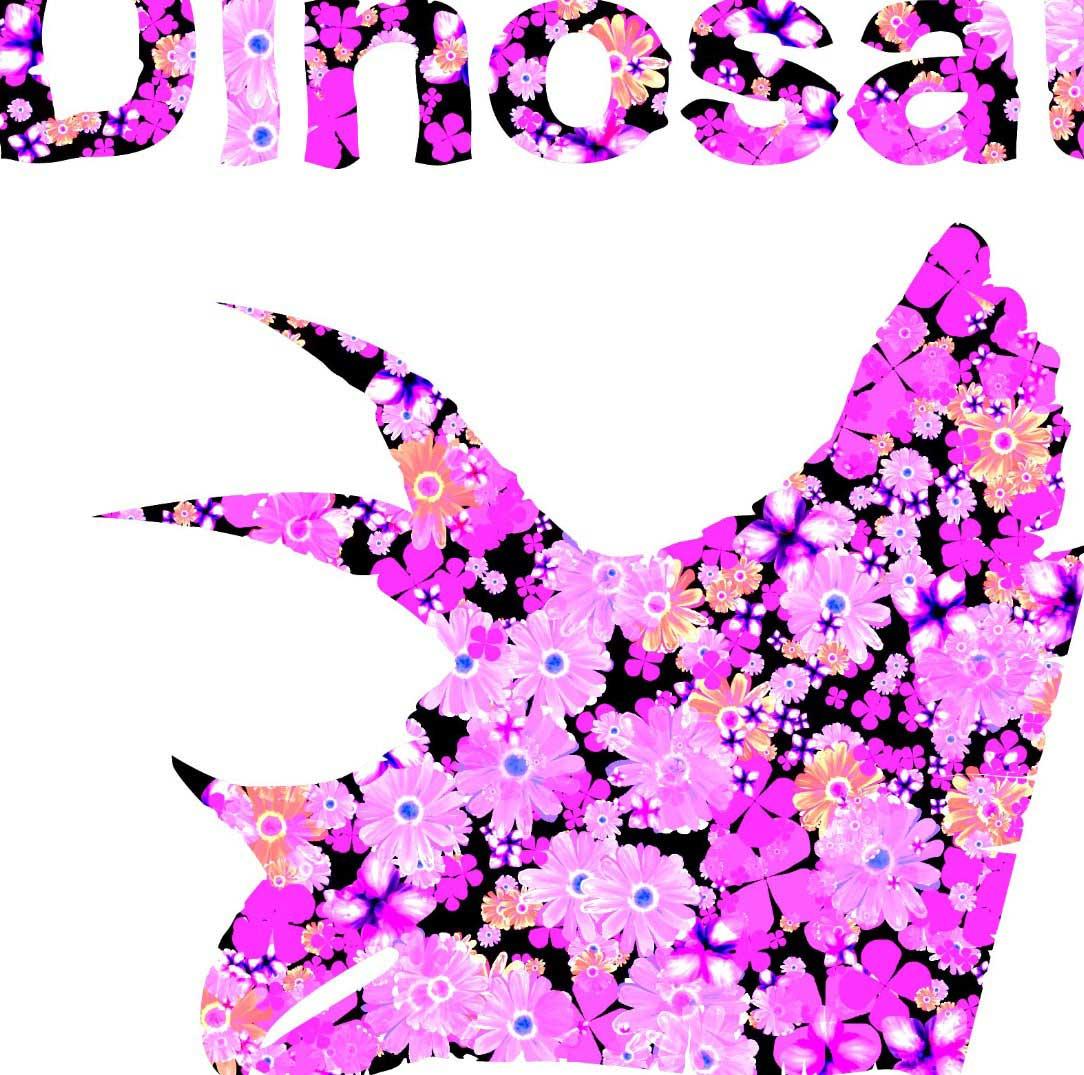 ガーベラとトリケラトプスの恐竜Tシャツのデザイン