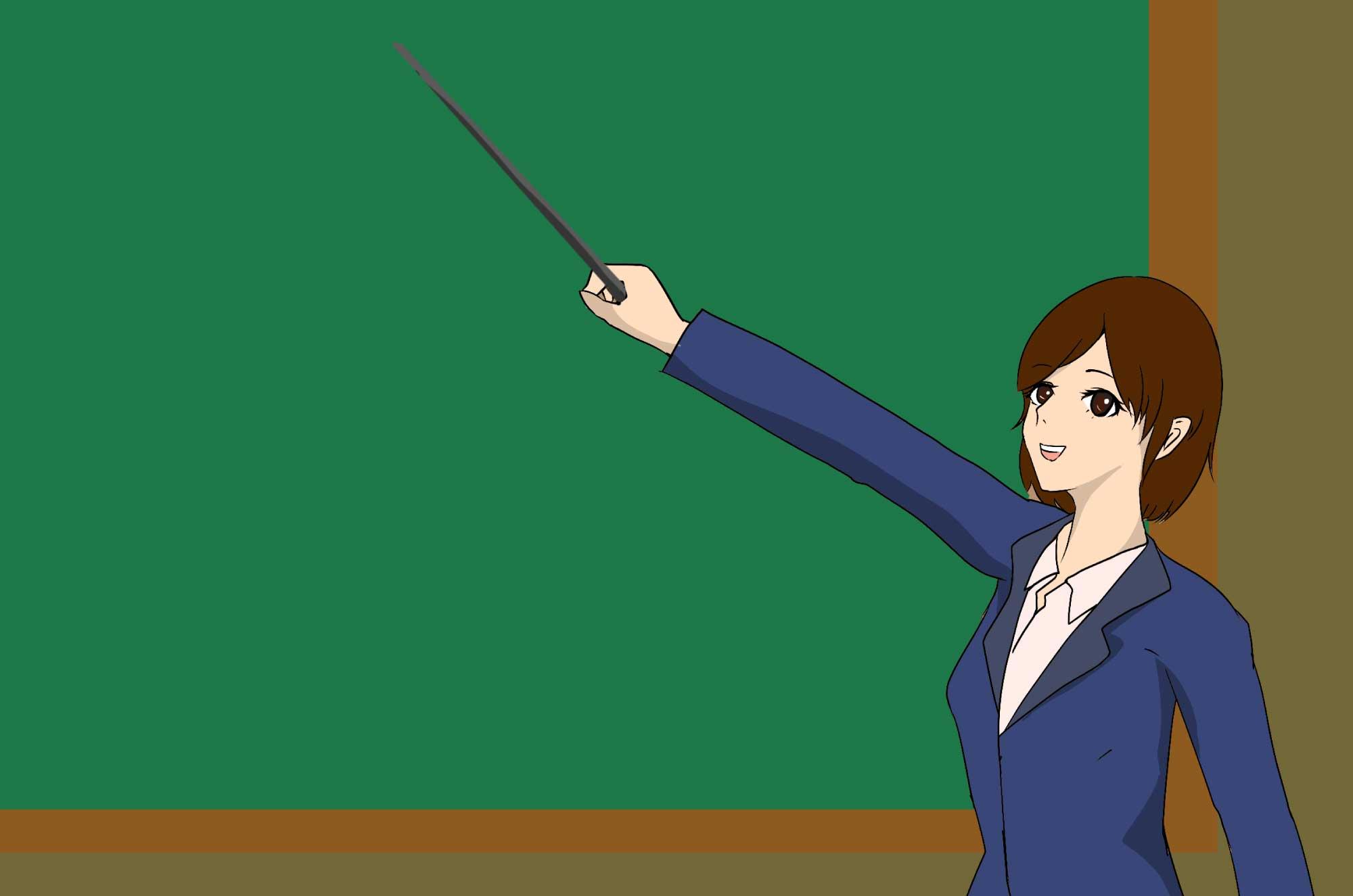 教師(先生)のイラスト - 学校の黒板で説明シーン素材