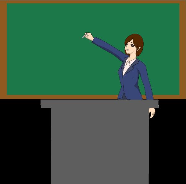 チョークで黒板に書く先生のイラスト