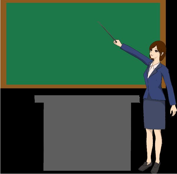 黒板を指差し棒で指教師(先生)のイラスト