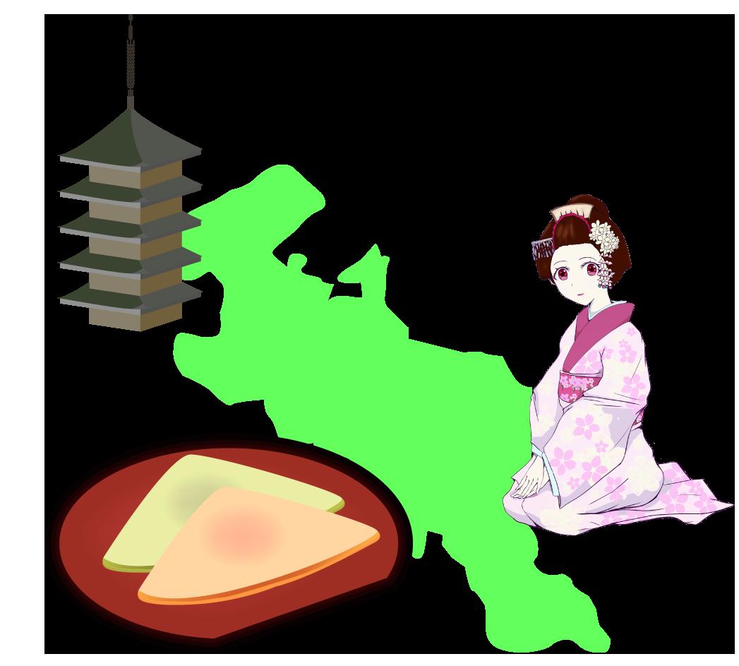 京都の名産と地図のイラスト