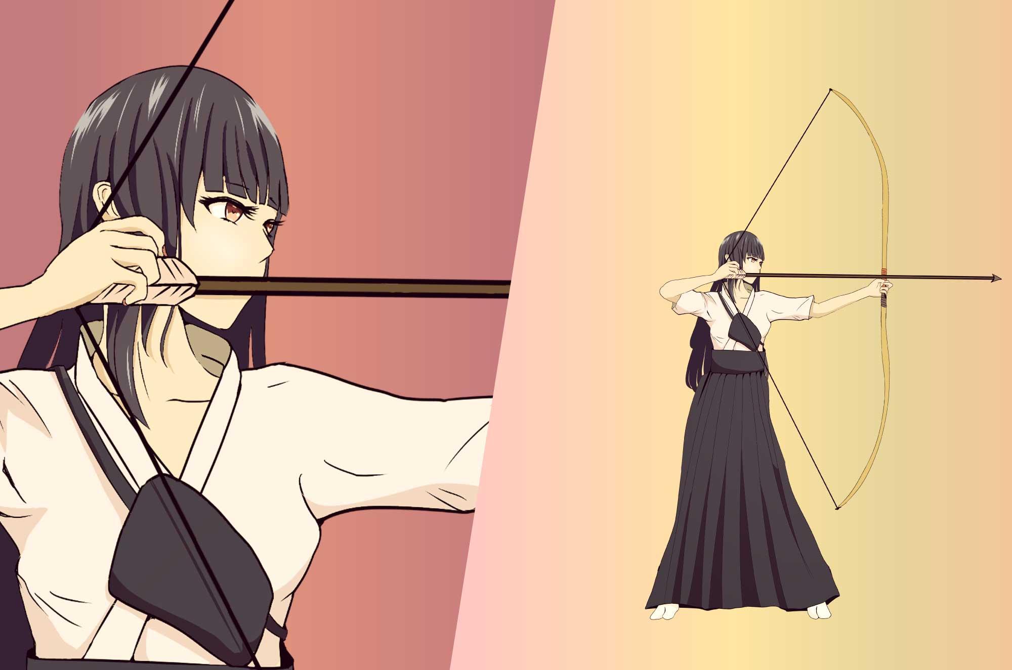 弓道の無料イラスト - 日本の武道のイメージ素材