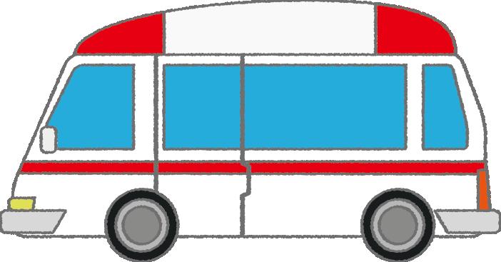 可愛い救急車のイラスト(横)