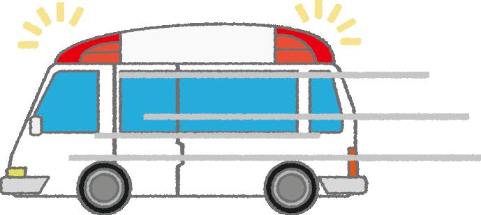 現場に急行する救急車のイラスト