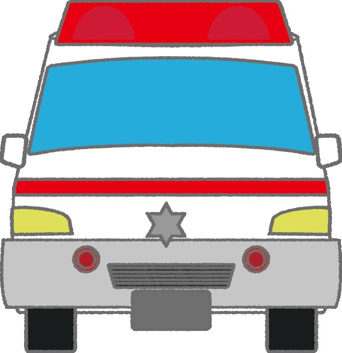 可愛い救急車のイラスト(正面)