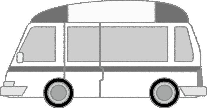 白黒の救急車のイラスト(横)