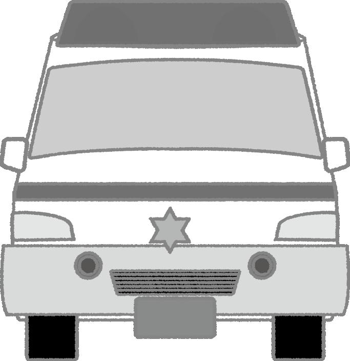 白黒の救急車のイラスト(正面