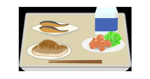 トレイに乗った給食のイラスト