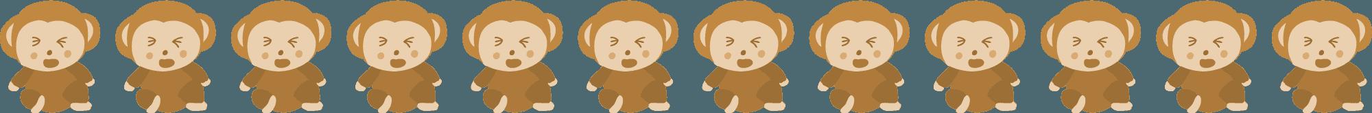 泣いている可愛い猿のライン素材