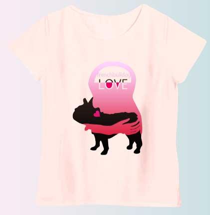 LOVEフレンチブルドッグTシャツ