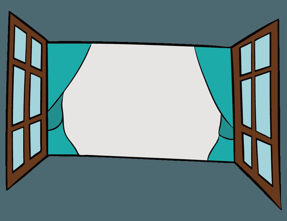 手描きのラフな寒色窓のイラスト