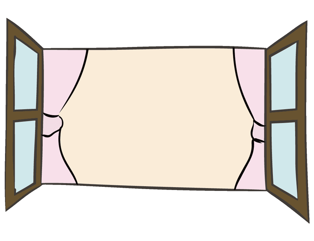 手描きのラフな暖色窓のイラスト
