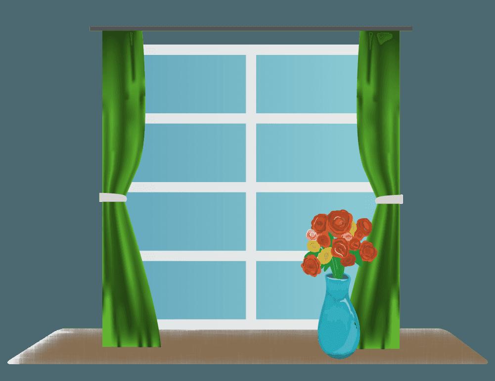 窓と花瓶のイラスト