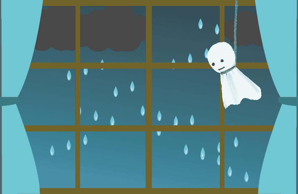 テルテル坊主と雨降りの窓のイラスト