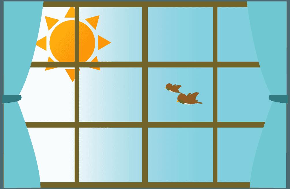 朝の雀と太陽の光が溢れる窓のイラスト