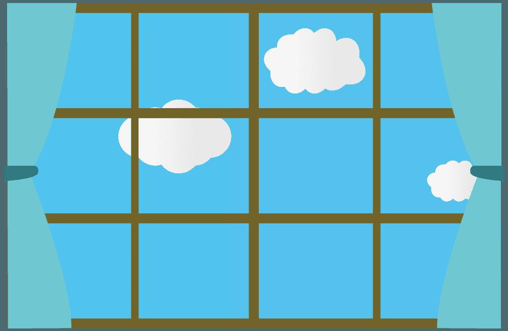 正午青空と雲の窓の風景イラスト
