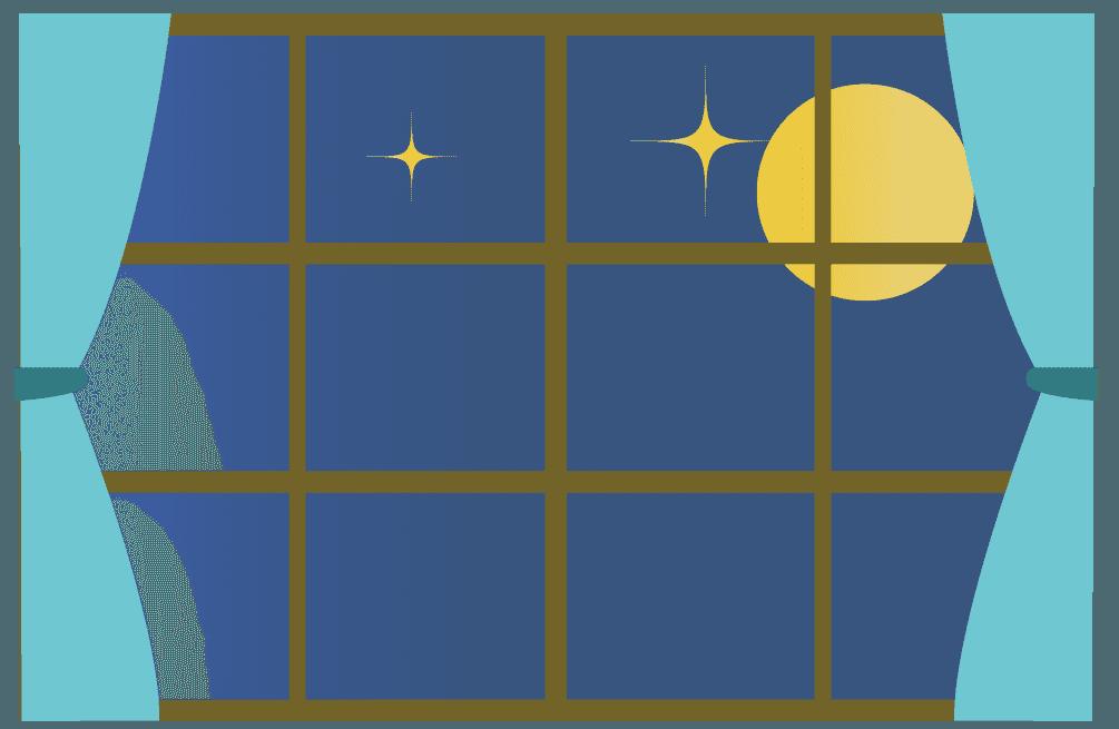 静かな夜と窓のイラスト