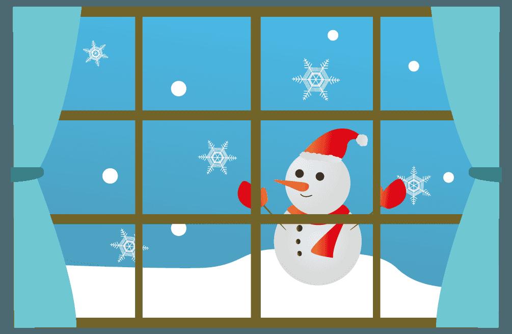 雪だるまと窓のイラスト