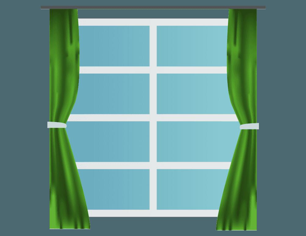 カーテンと中からみた窓のイラスト