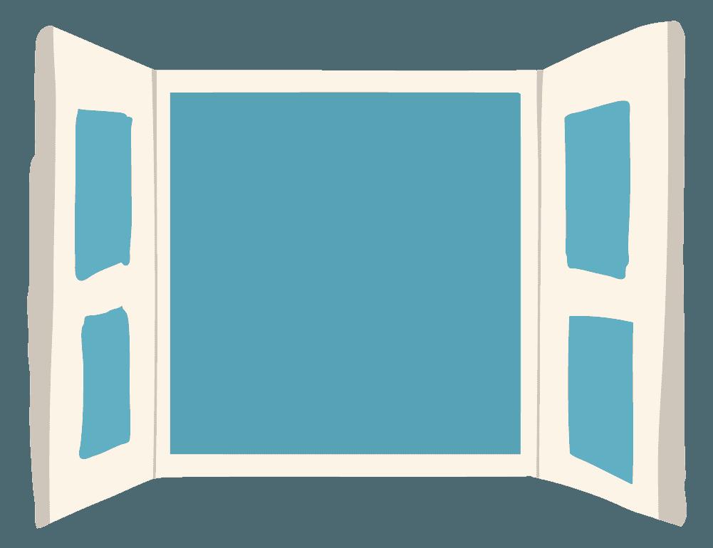 観音開きの白い窓のイラスト
