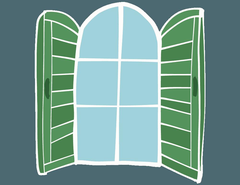 手描きのアートな窓のイラスト