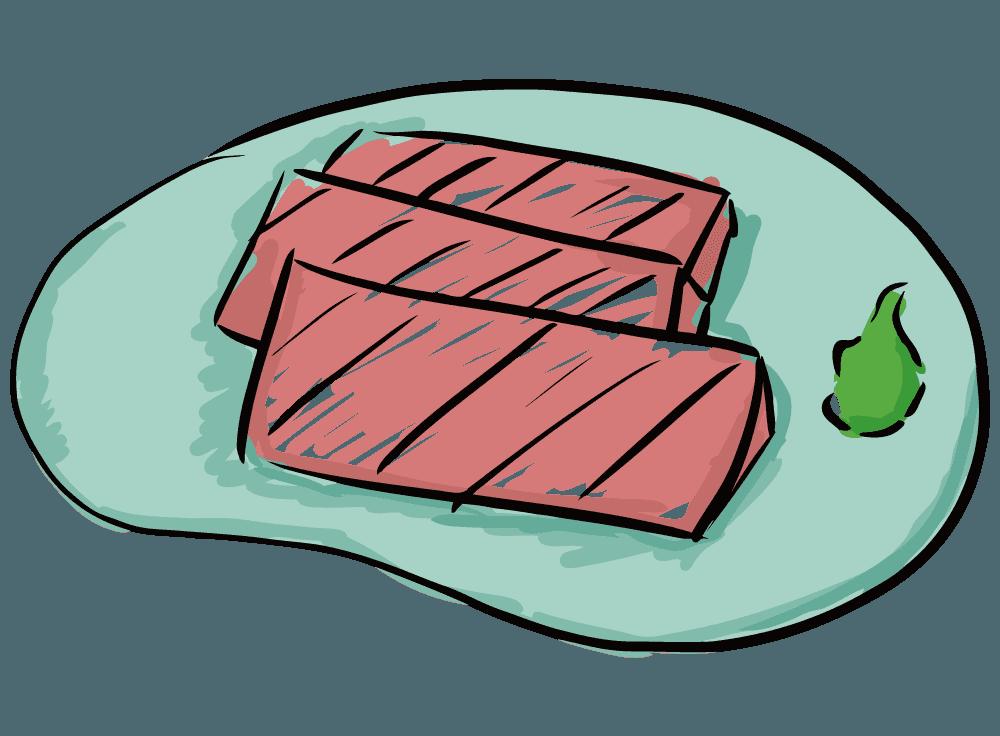 和風なマグロの刺身とわさびのイラスト