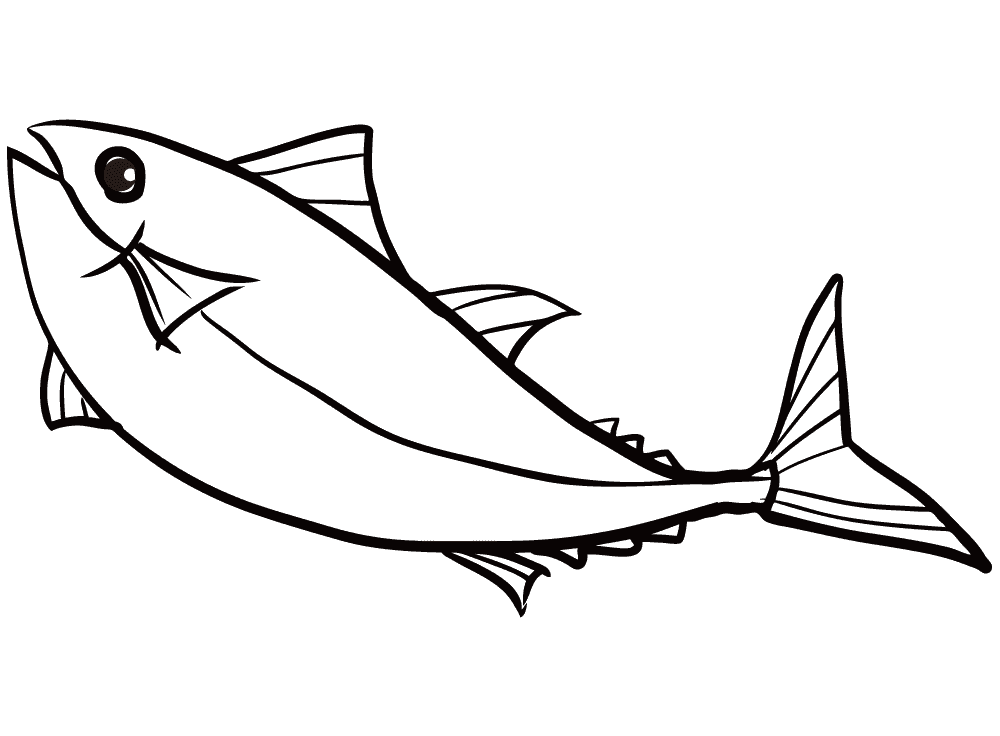 マグロの線画のイラスト