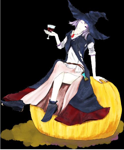 ハロウィンのかぼちゃに座る可愛い魔法使いのイラスト