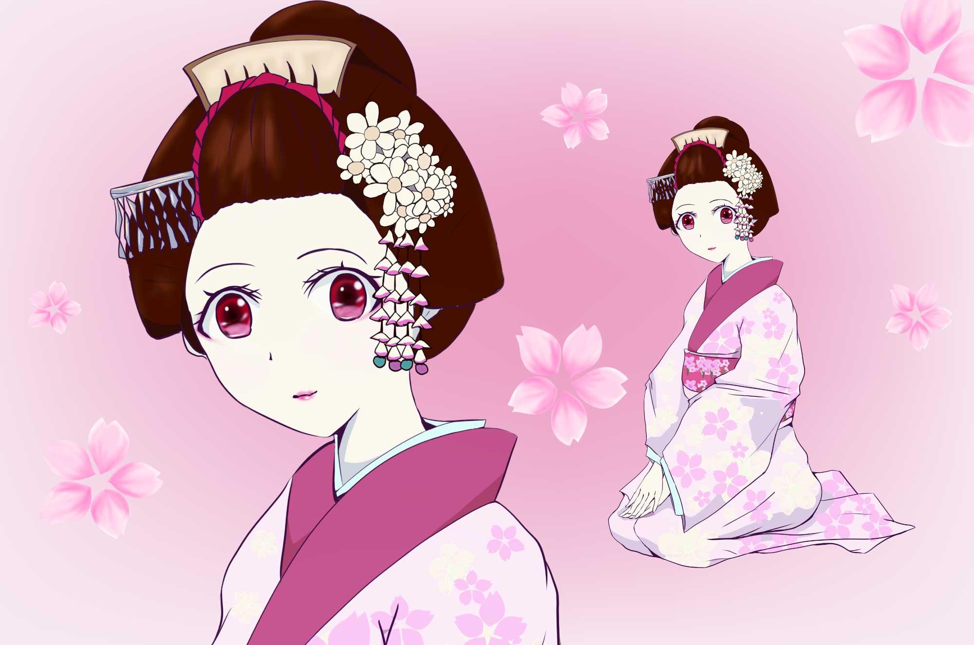 可愛い舞妓の無料イラスト - キャラクターフリー素材