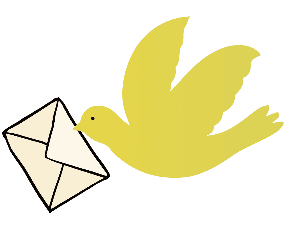 手紙を届ける可愛い鳩のイラスト