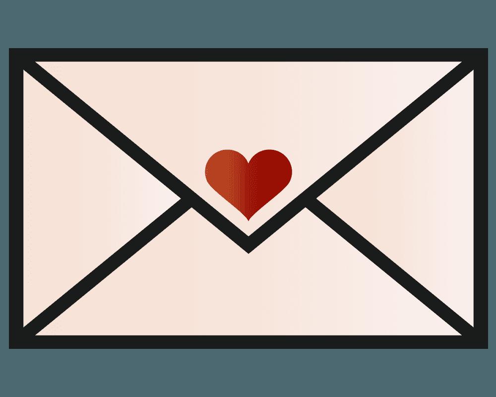 ハート付のメールのイラスト