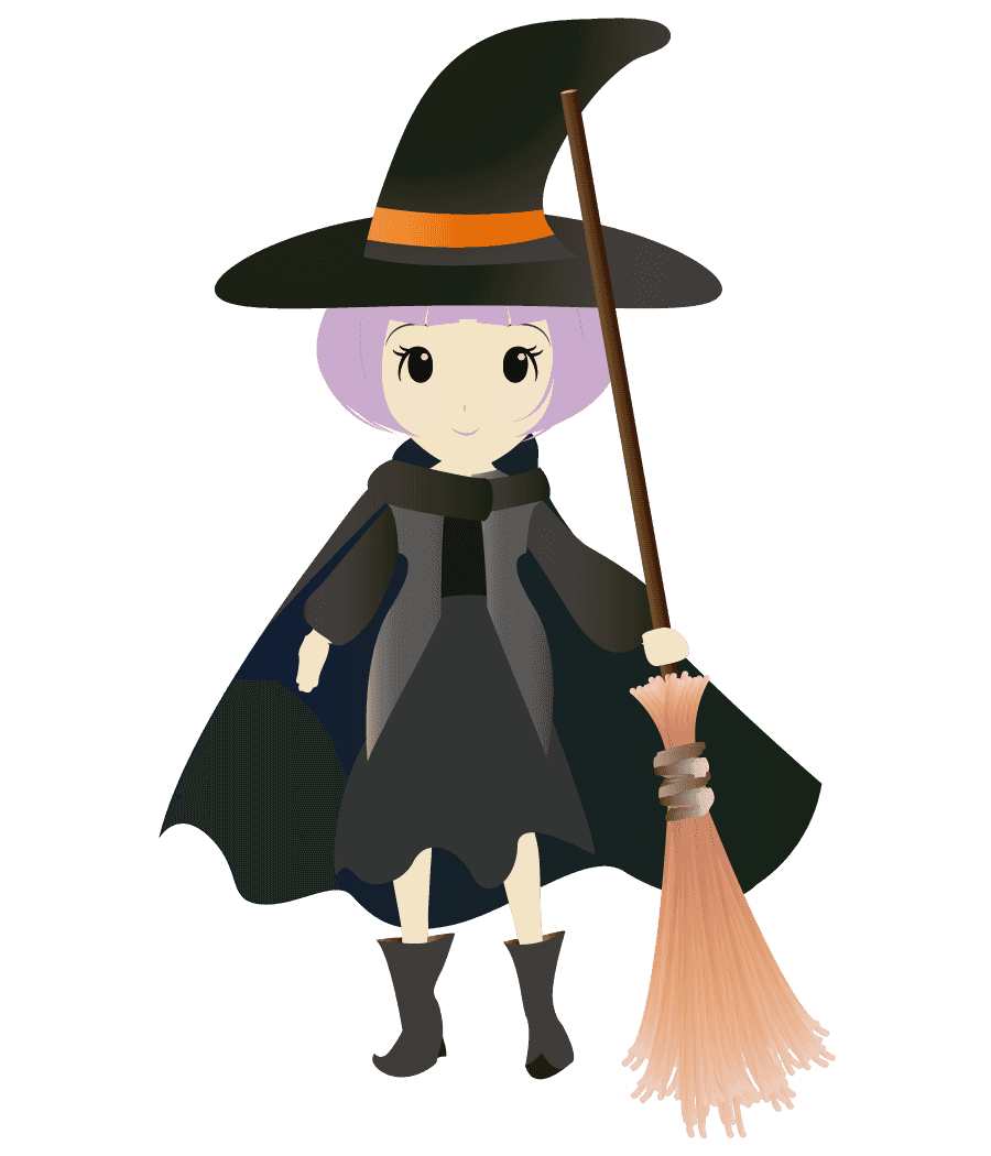 可愛いほうきを持った魔女イラスト