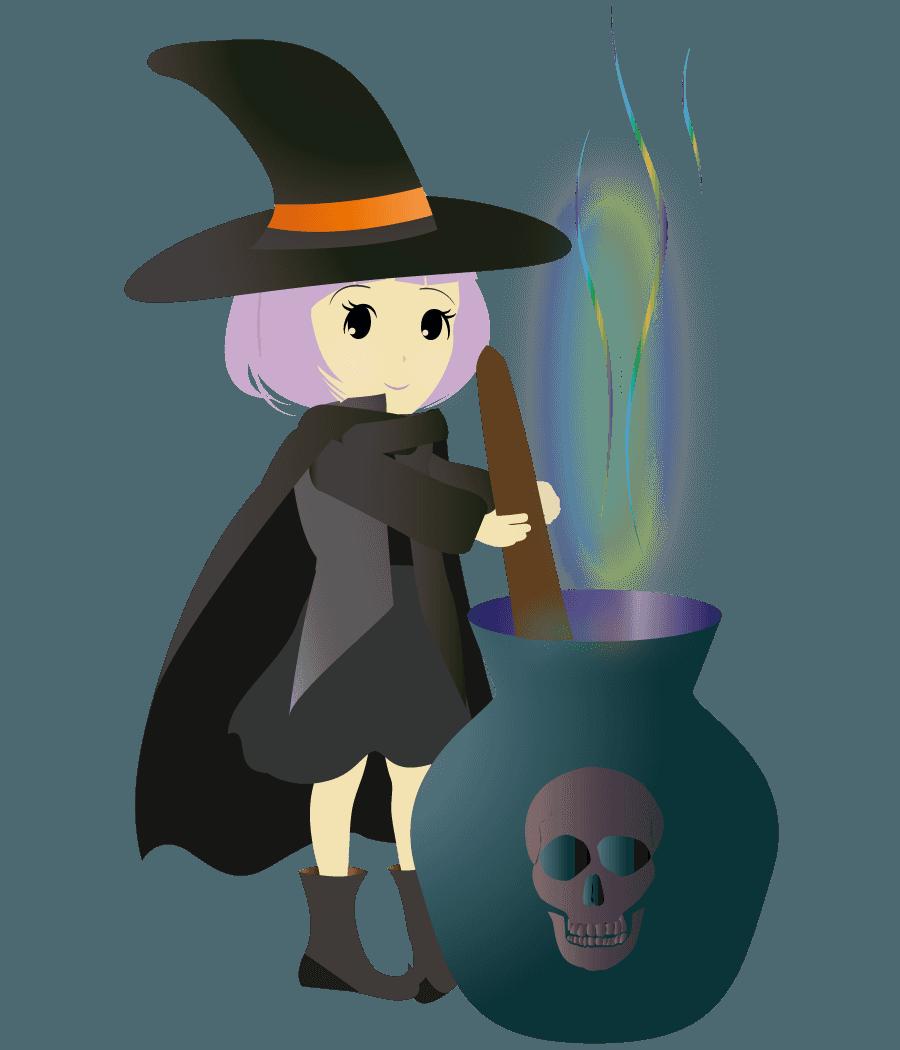 魔法の薬を作る魔女イラスト