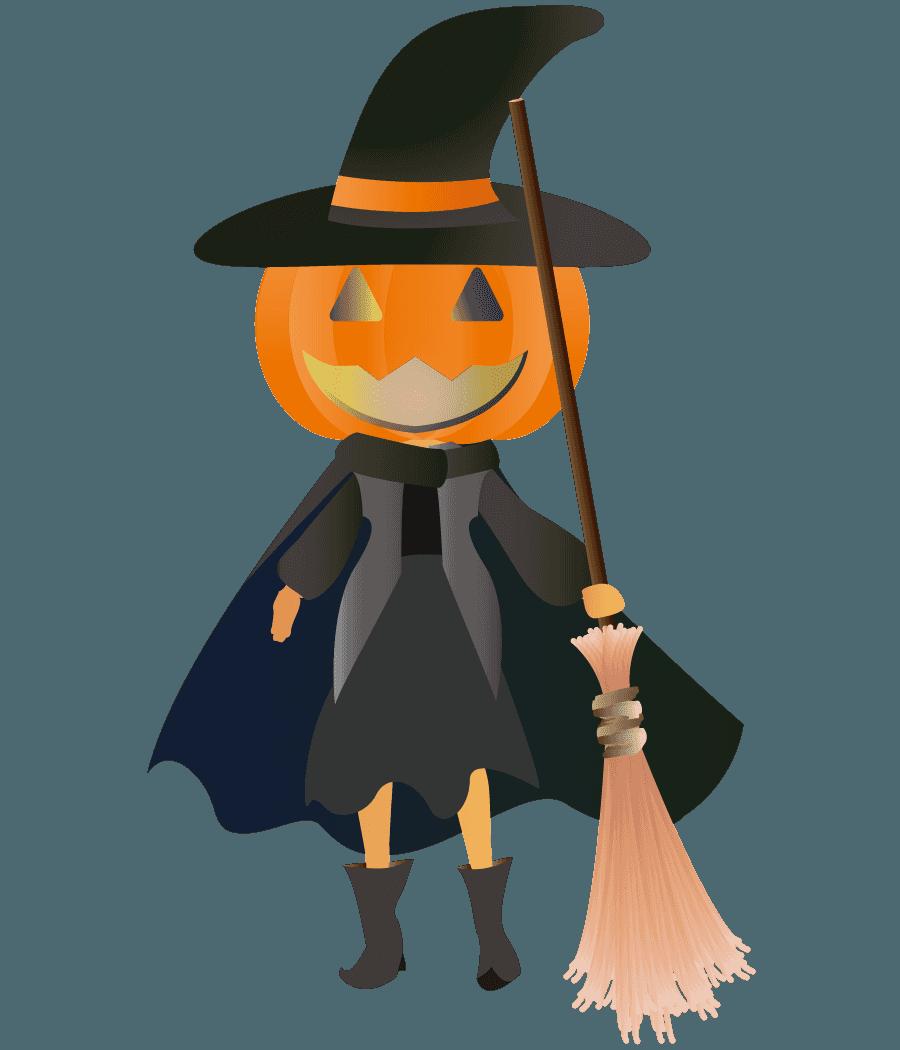 ジャックランタンのハロウィン魔女イラスト