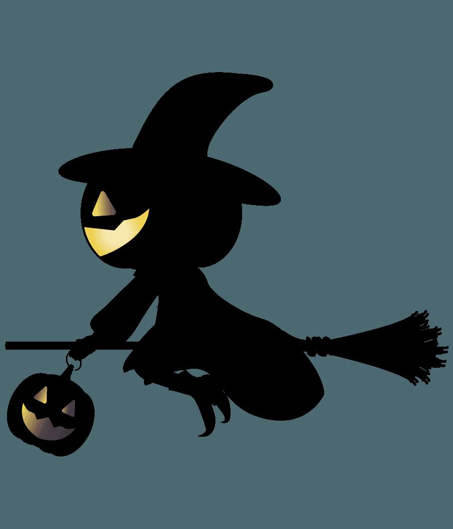 ハロゥインの魔女シルエットイラスト