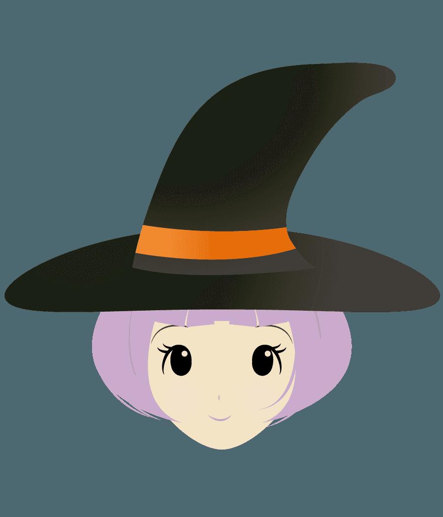 可愛い魔女の顔イラスト