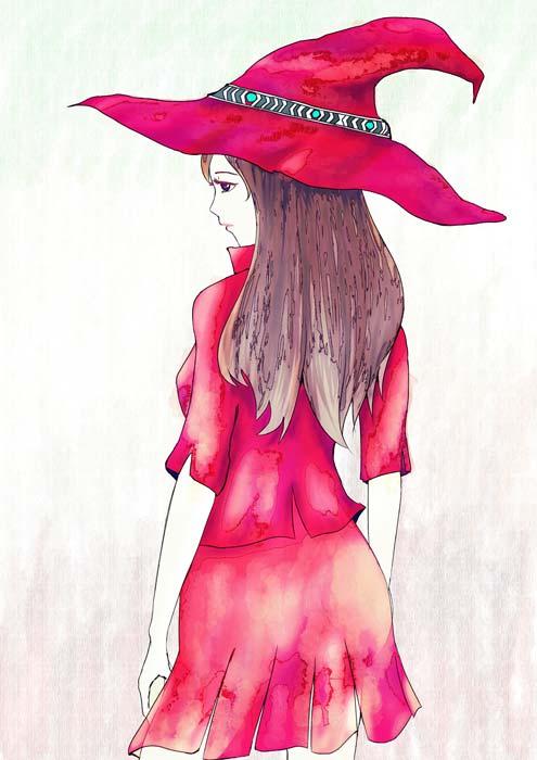 魔女のイラストポストカード3