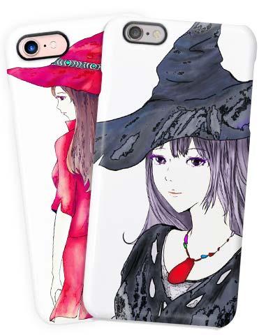 赤い魔女と黒い魔女のiphone・手帳型スマホケース
