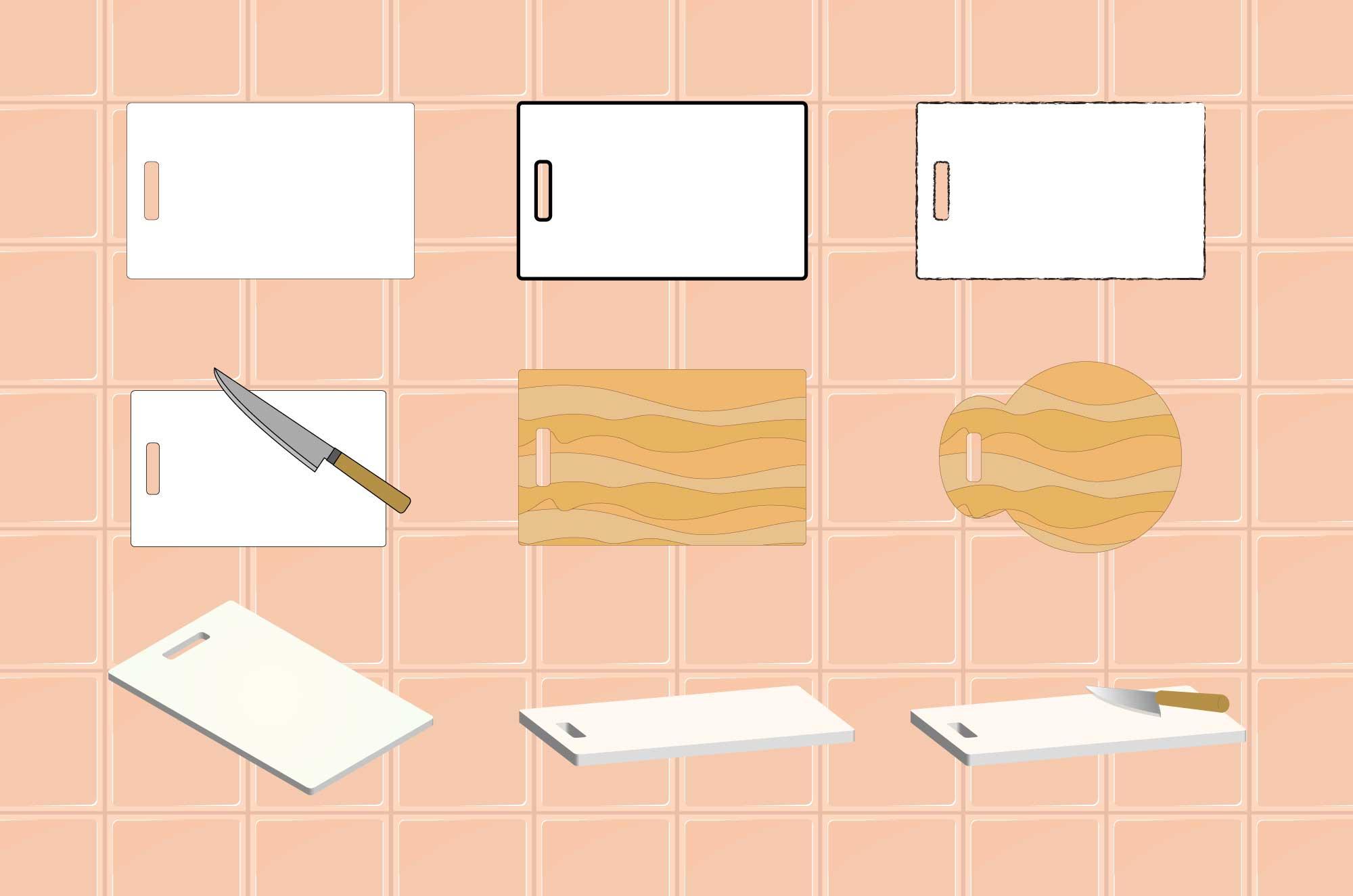 まな板イラスト - フリーの料理道具の無料素材
