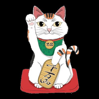リアルな招き猫(白)のイラスト