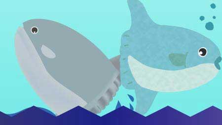 可愛いマンボウのイラスト - 海の中の巨大な魚無料素材