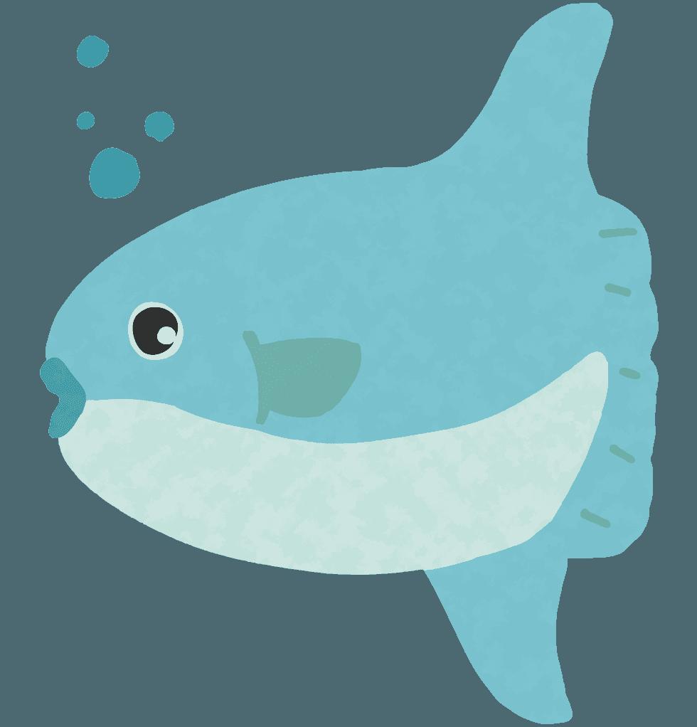 可愛いマンボウのイラスト - 海の中の巨大な魚無料素材 - チコデザ
