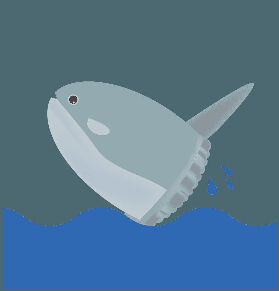 海面をジャンプするマンボウイラスト