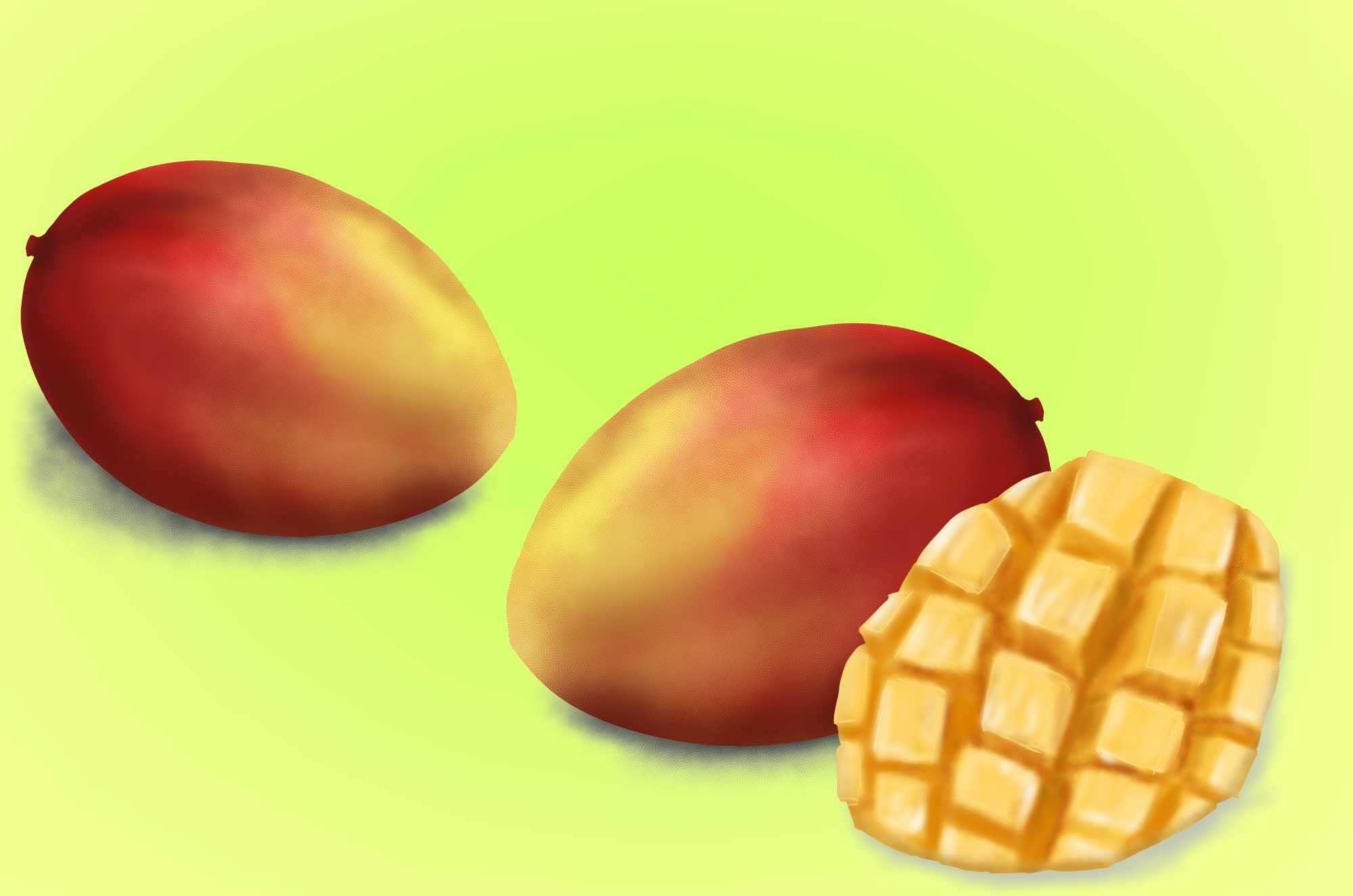 マンゴーの無料イラスト - 美味しそうなフルーツ素材