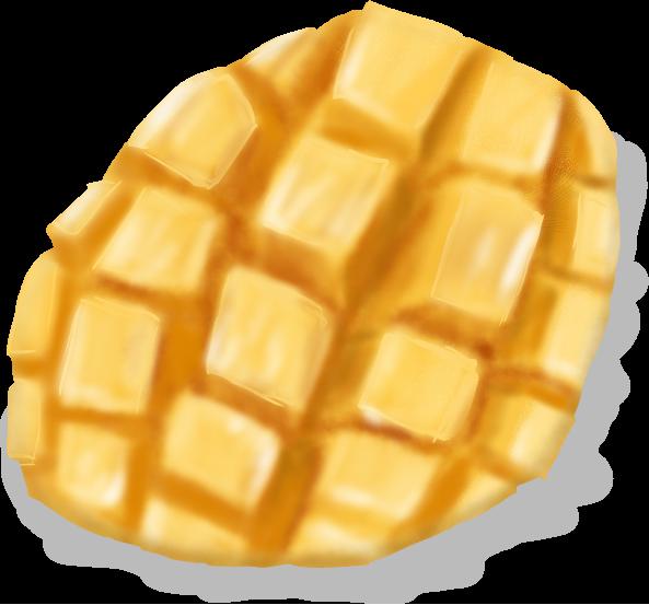 切ったマンゴーのイラスト